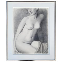 Nude Female Charcoal Signed Jonathan Farr in Original Frame
