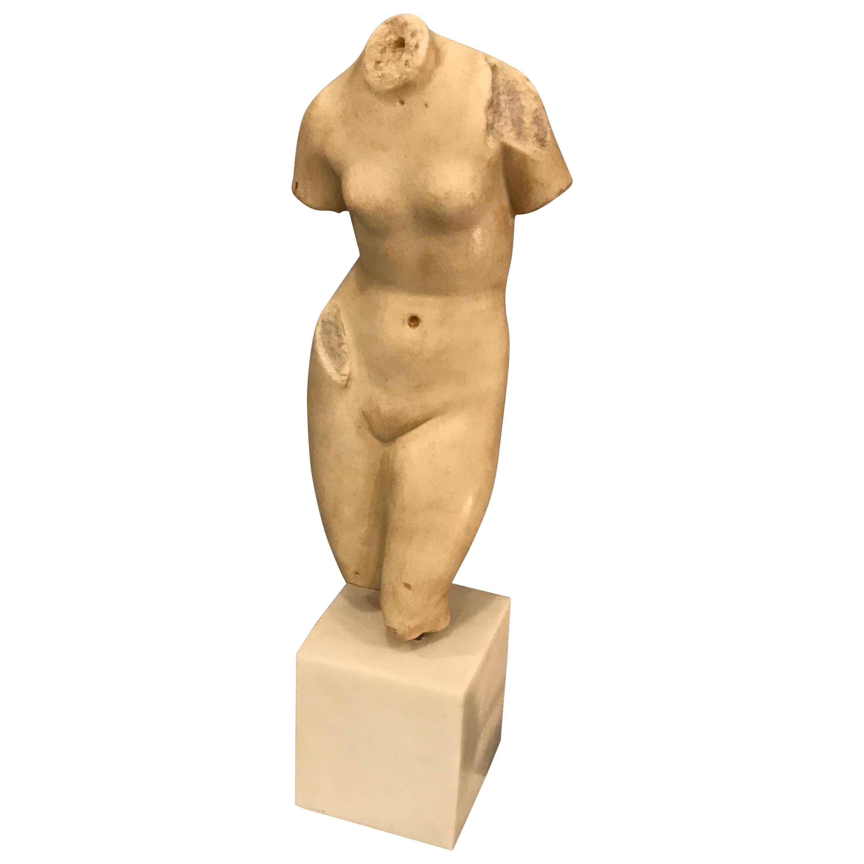 Nude Female Torso Sculpture in Alabaster