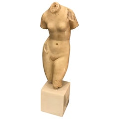 Nude Female Torso Sculpture in Alabaster