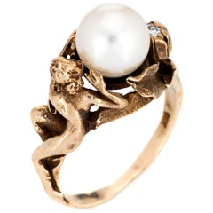 Nude Figural Ring 14 Karat Yellow Gold Cultured Pearl Diamond Flower Jewelry