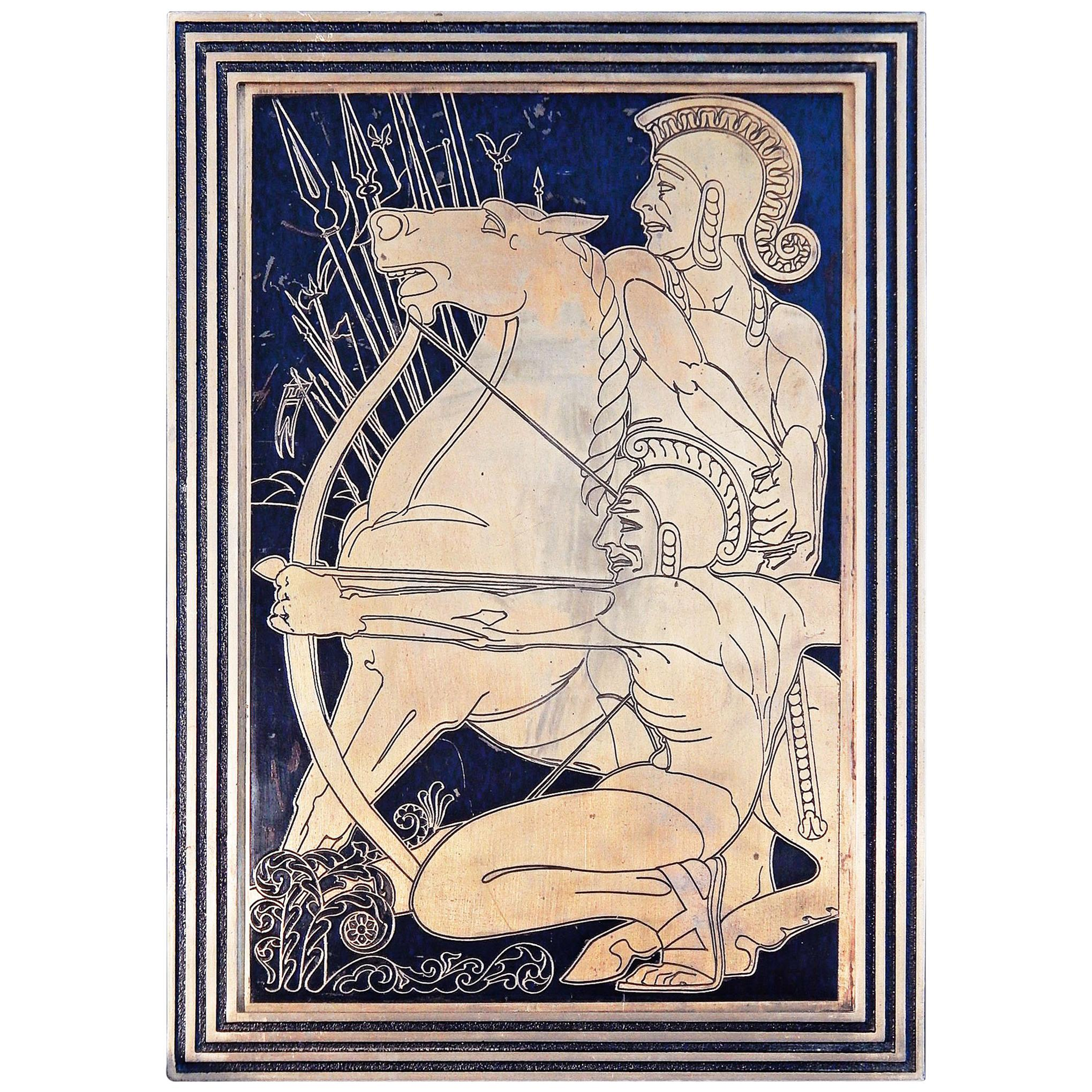 """Nude Gladiators,"" Dramatic Art Deco Bronze Panel with Incised Figures"