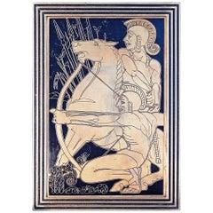 """Nude Gladiators,"" Dramatic Art Deco Bronze Panel with Incised Figures"