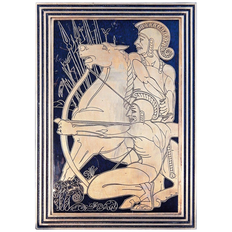 """""""Nude Gladiators,"""" Dramatic Art Deco Bronze Panel with Incised Figures For Sale"""