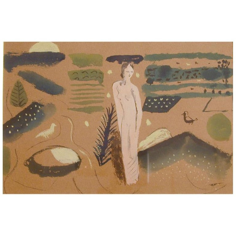 """""""Nude in Stylized Landscape,"""" Gouache Ptg. by Edward Buk Ulreich For Sale"""