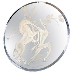 """""""Nude Male and Horse,"""" Stunning Art Deco Mirror with Deeply Etched Figures"""