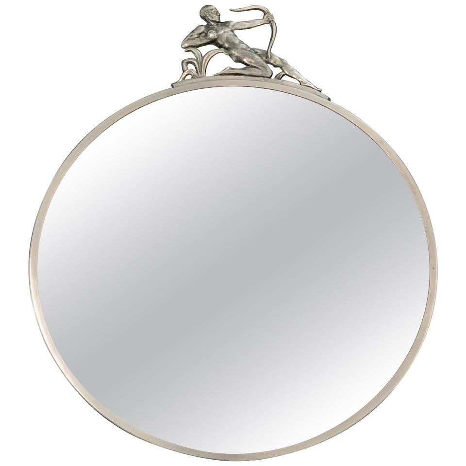 """""""Nude Male Archer Mirror,"""" Fabulous Art Deco Round Mirror with Pewter Sculpture"""