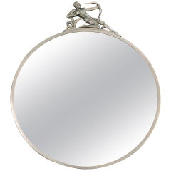 """Nude Male Archer Mirror,"" Fabulous Art Deco Round Mirror with Pewter Sculpture"