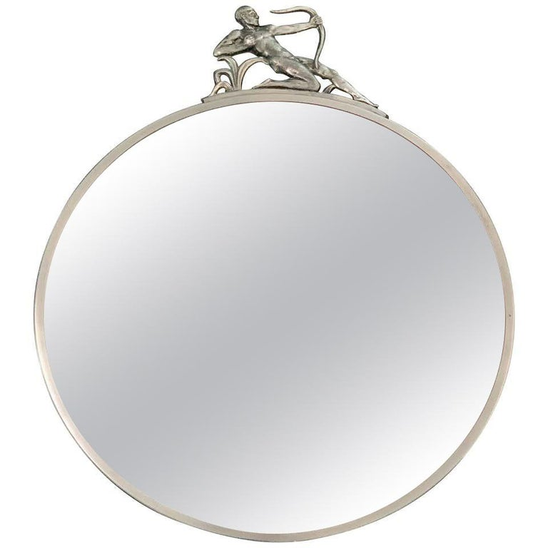 """""""Nude Male Archer Mirror,"""" Fabulous Art Deco Round Mirror with Pewter Sculpture For Sale"""