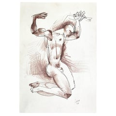 """""""Nude Male with Upraised Arms,"""" Striking Midcentury Drawing by RISD Teacher"""