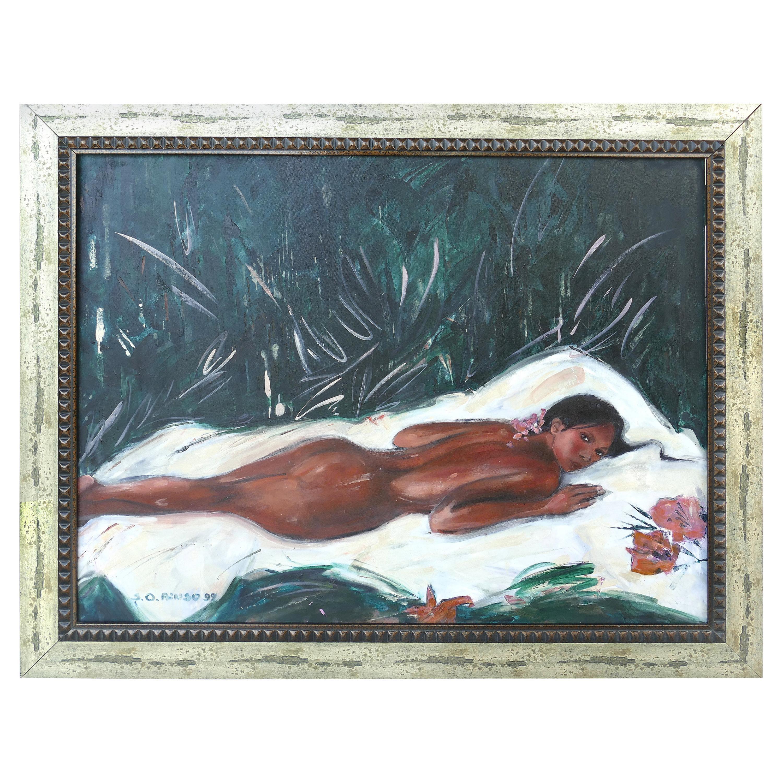 "Nude Painting by Estonian born Artist Sirje Okas Ainso titled ""La Siesta"""