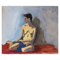 Nude Portrait Painting of a Woman in Red and Blue