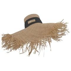 Nude rafia handmade hat