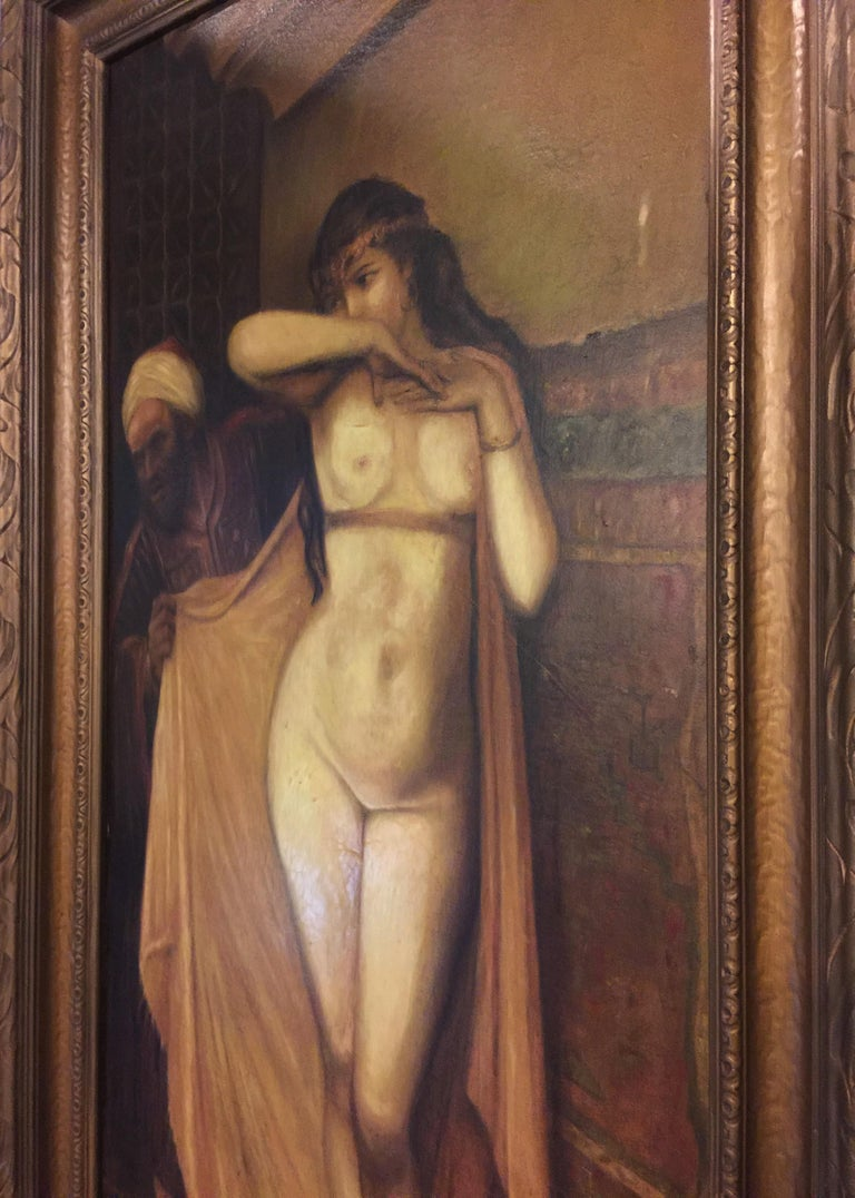 American Nude Slave Harem Girl Oil On Canvas Painting by Arthur Edwin Bracy  For Sale