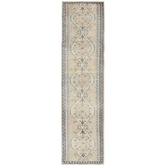 Nude, Taupe, and Blue Vintage Turkish Oushak Runner with Stylized Medallions