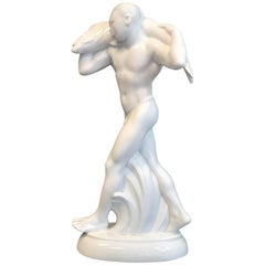 """Nude with Fish,"" Rare, Art Nouveau Porcelain Sculpture for Crown Prince Wilhelm"