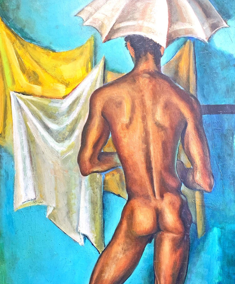 Vividly painted in tones of turquoise, canary yellow and warm brown, this extraordinary depiction of a slender Black male nude holding an umbrella -- in our opinion a Mid-Century Modern masterpiece with hints of Surrealism -- was painted by Raoul