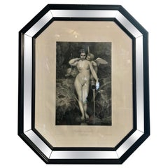 Nude Woman Antique Art Print with Mirrored and Black Lacquered Wood Frame, 1867