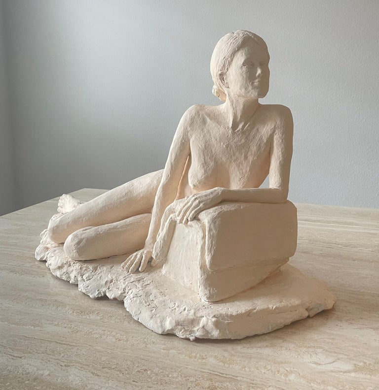 Nude woman plaster sculpture. Signed by the artist