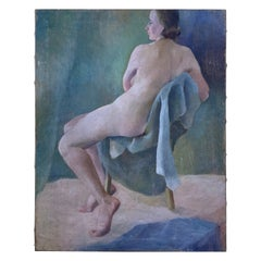 Nude Women Sitting on a Chair Oil Painting