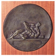 """Nude Wrestlers,"" Rare and Early Bronze Art Deco Relief Plaque by Joe Brown"