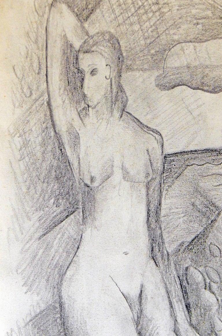 "Art Deco ""Nudes in Cubist Landscape,"" Drawing by Glidden Parker, Founder, Glidden Pottery For Sale"