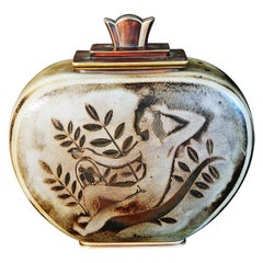 """Nudes with Falcons,"" Masterful Art Deco Covered Jar by Nylund for Rorstrand"