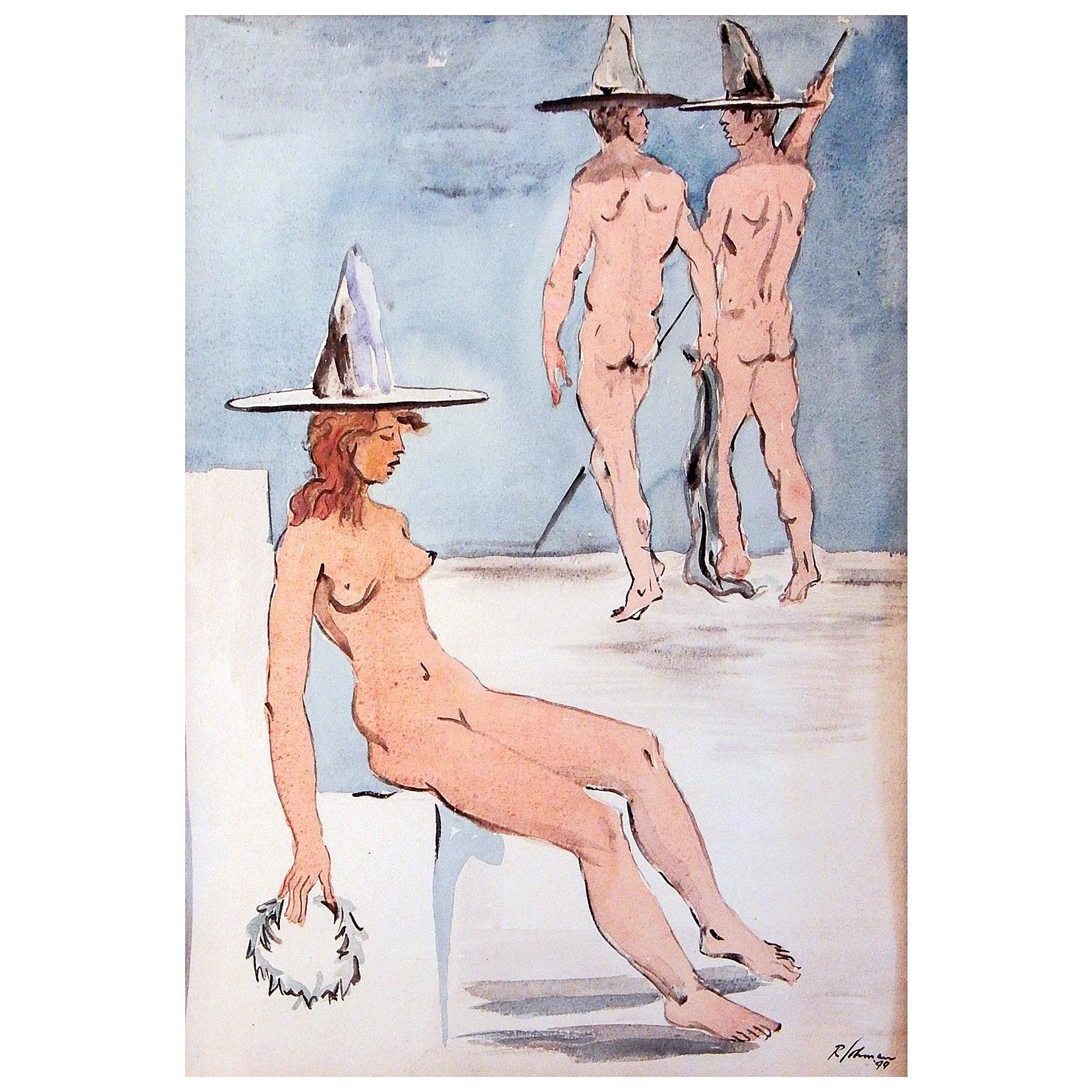 """""""Nudes with Hats,"""" Surreal Painting with Male Couple and Sleeping Female, 1949"""