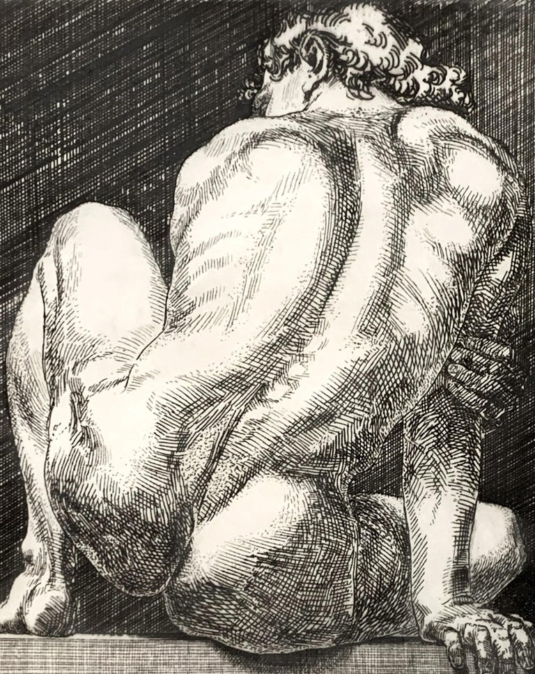 With a title that alludes to the great Ignudi in Michelangelo's Sistine Chapel ceiling, and with a bold clarity of detail that brings Albrecht Dürer's greatest etchings to mind, this 1984-vintage print depicts a muscular male nude in a seated