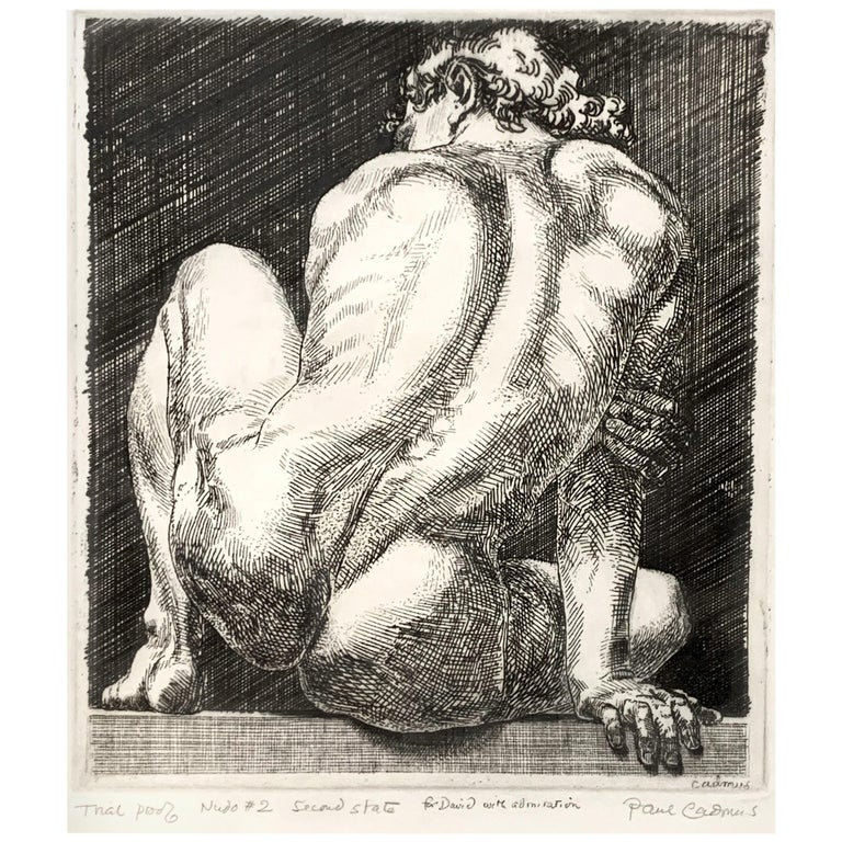 """Nudo #2,"" Rare, Acclaimed Print with Male Nude by Paul Cadmus, Rare Dedication"