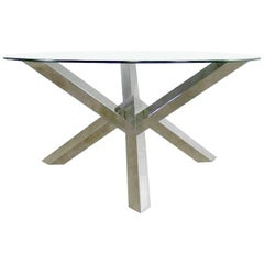 Nuevo Costa Round Stainless-Steel Jacks Style Dining Table with Glass Top