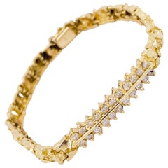 Nugget Diamond Bracelet, 14 Karat Yellow Gold, Gold Nugget Link Chain Bracelet