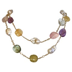 Num Aquamarine, Amethyst, Lemon Quartz, Baroque Pearl, & Pink Quartz Necklace