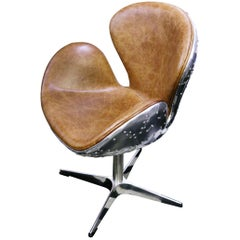 Number 5 Brown Medium Desk Armchair Swivel in Riveted Aluminium and Leather