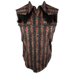 NUMBER (N)INE Size M Black & Red Floral Cotton Fringe Snaps Western Sleeveless S
