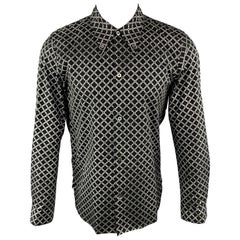 NUMBER (N)INE Size M Black & Silver Link Cotton Button Down Long Sleeve Shirt