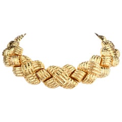 Nuovi Gioielli Italian Wide 18 Karat Criss Cross Choker Necklace