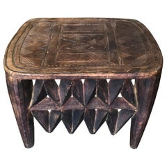Nupe African Wooden Carved Bench