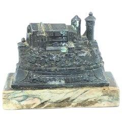 Nuremberg Castle 1930s Souvenir Building Metal and Marble Base Paperweight
