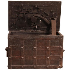 Nuremberg Chest or Pirate Chest from the 17th Century in Wrought Iron