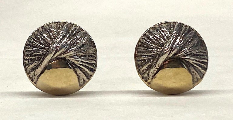 Nurit & Shoshana Abstract Sterling Modernist Button Earrings For Sale 2