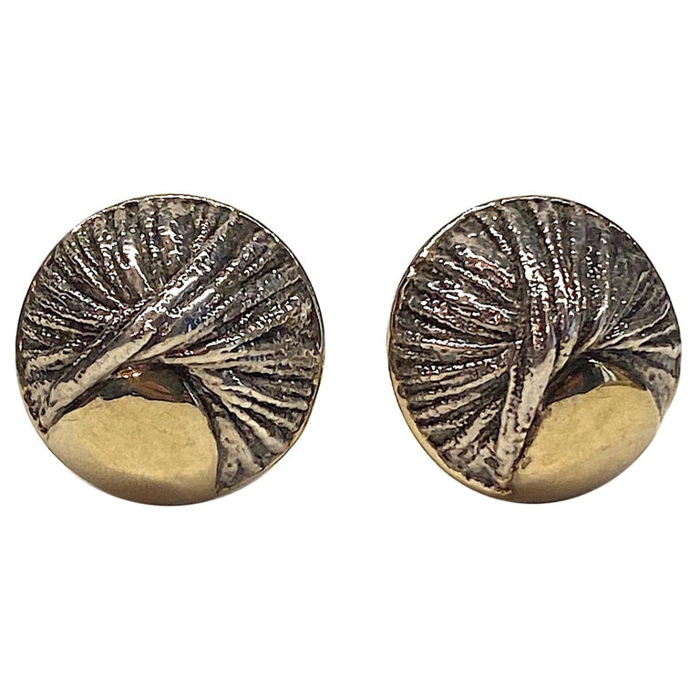 Nurit & Shoshana Abstract Sterling Modernist Button Earrings For Sale