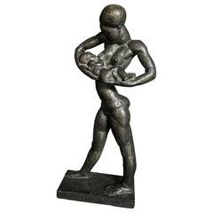 """""""Nursing Mother in Africa,"""" Rare Cubist-Art Deco Bronze Sculpture, Prob. Belgium"""