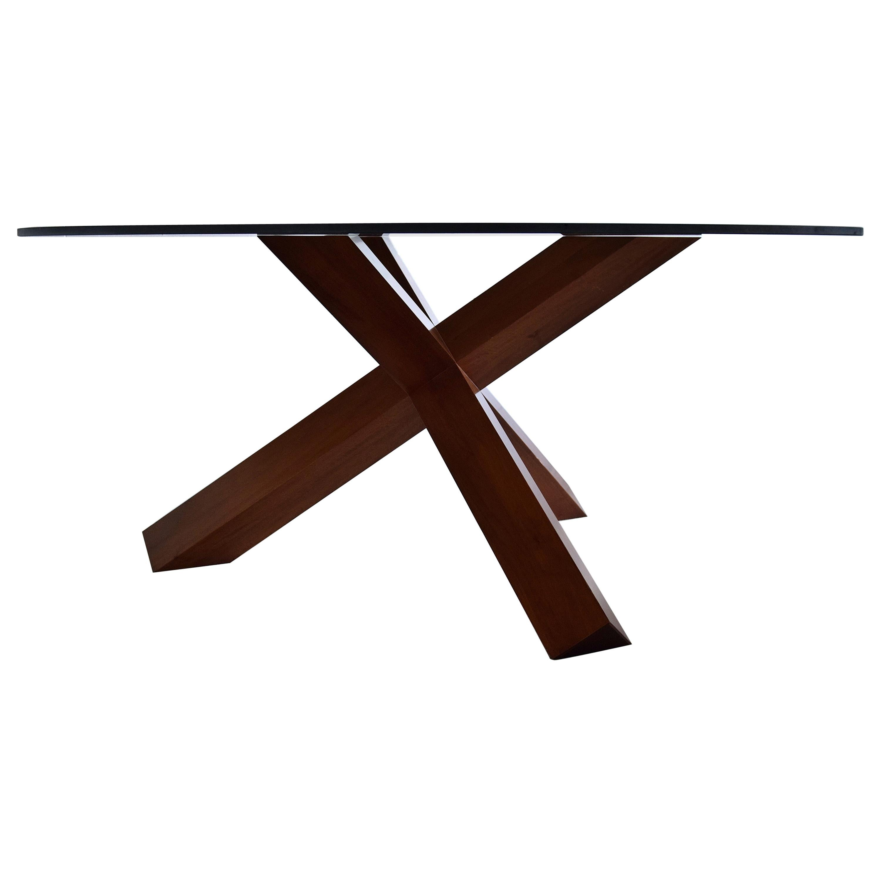 Nutwood and Glass Dining Table La Rotonda by Mario Bellini for Cassina