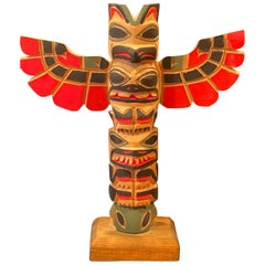 Nuu-chah-nulth Northwest Coast Hand Carved Wood TOTEM Pole by Eric Williams