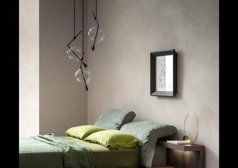 Nuvola Black Three Lights Contemporary Sculptural Minimalist Pendant/ Chandelier In New Condition For Sale In Novellara, IT
