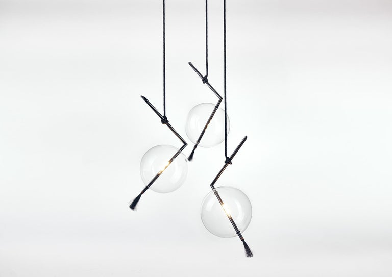 Nuvola Black Three Lights Contemporary Sculptural Minimalist Pendant/ Chandelier 9