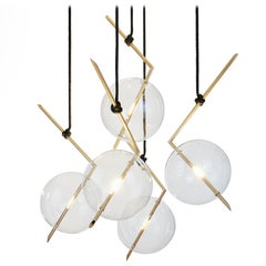 Nuvola BOLD Five-Light Contemporary Chandelier Clear Blown Glass, Brushed Brass