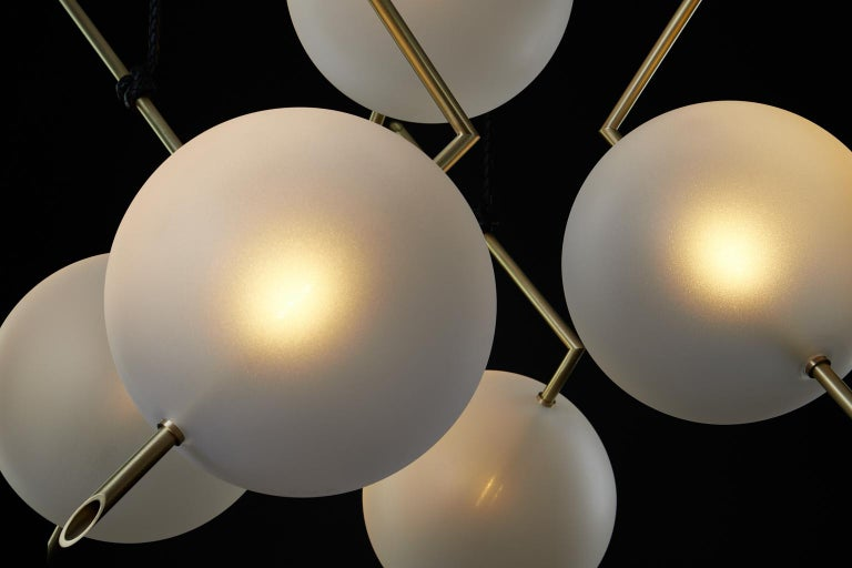 Italian Nuvola Stardust-White BOLD - Five Lights Chandelier Brass, Leather, Blown Glass For Sale