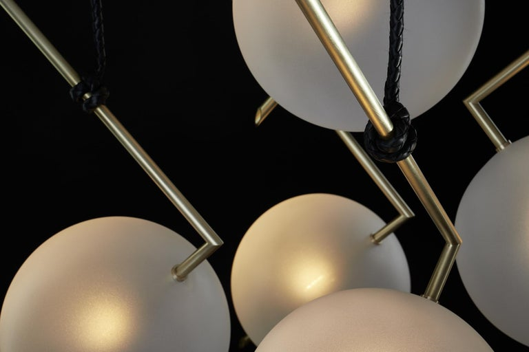 Nuvola Stardust-White BOLD - Five Lights Chandelier Brass, Leather, Blown Glass In New Condition For Sale In Novellara, IT