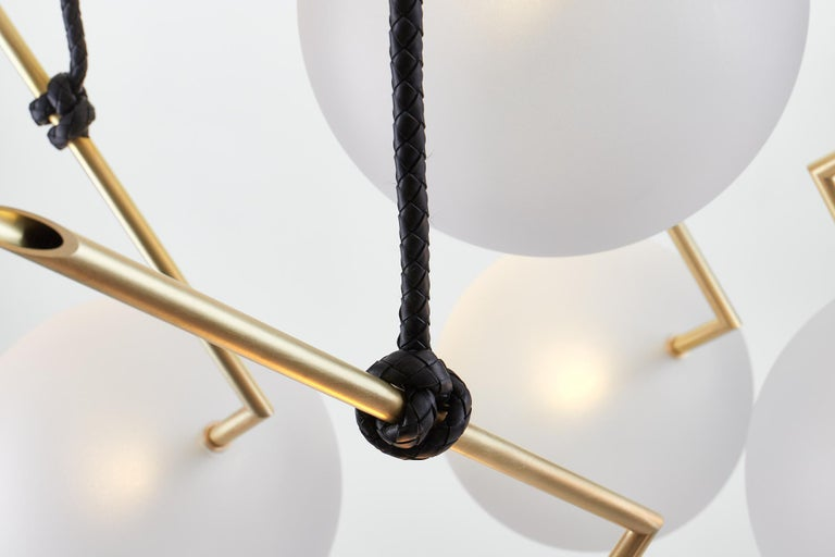 Nuvola Stardust-White BOLD - Five Lights Chandelier Brass, Leather, Blown Glass For Sale 2